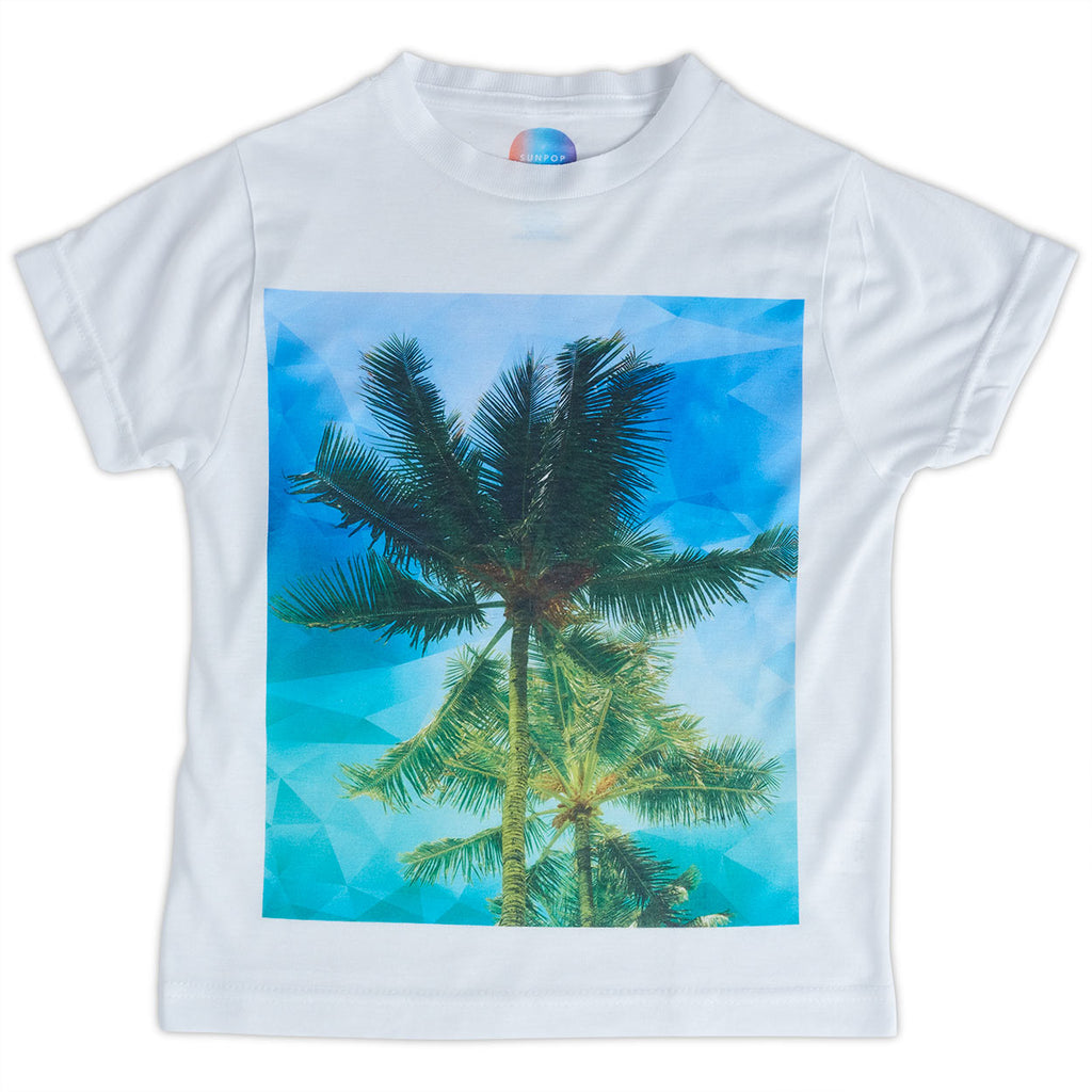 Kids Palms Graphic Tshirt White Green Blue Size Xs L Unisex Geo Tropical Sunpoplife