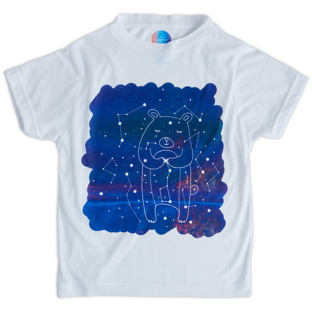 Kids Piggy Graphic Tshirt Size Xs L White Purple Unisex Cosmos Porcus Constellations Sunpoplife