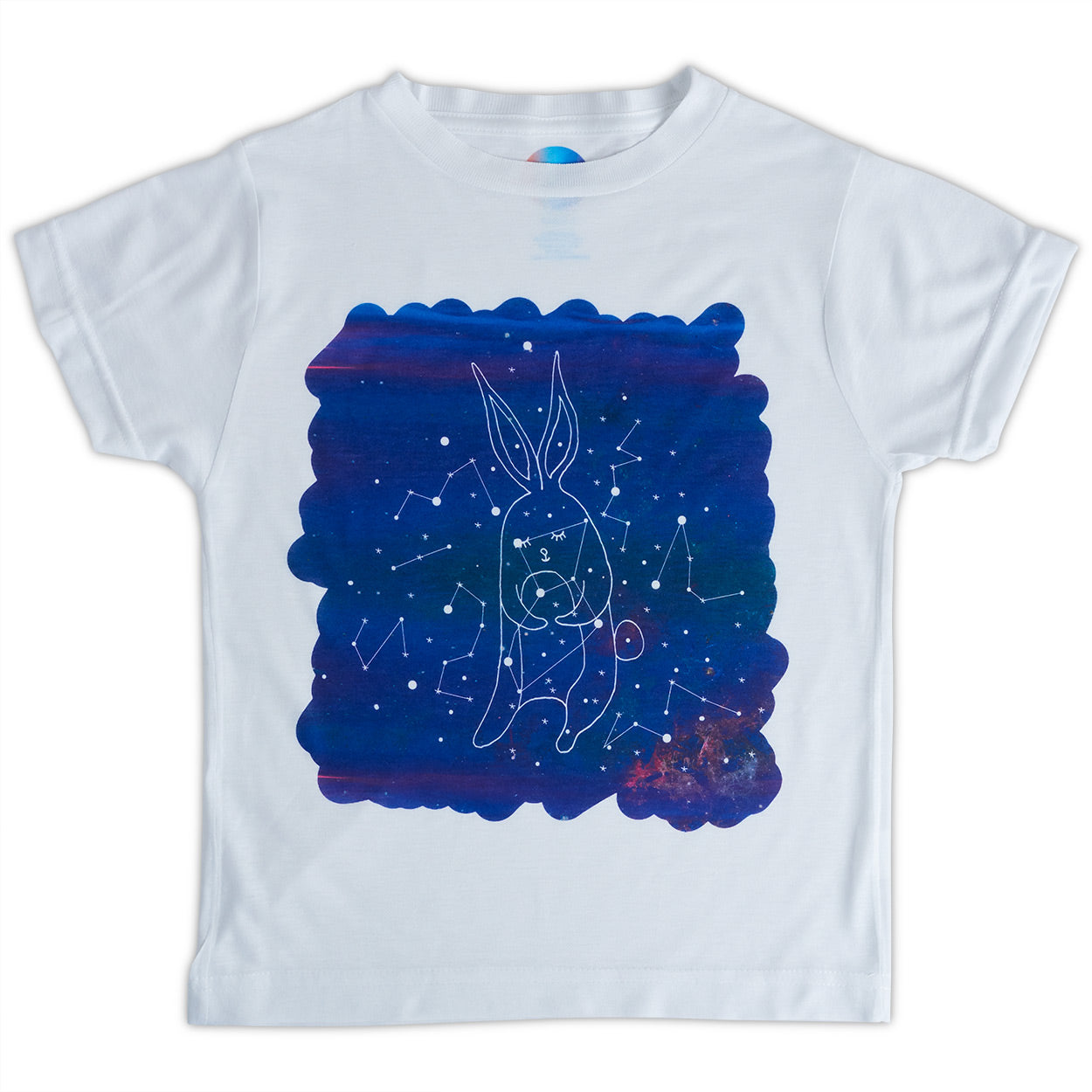 Kids Rabbit Graphic Tshirt Size Xs L White Purple Unisex Cosmos Lepus Constellations Sunpoplife
