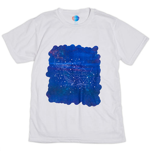 Kids Whale Graphic Tshirt Size Xs L White Purple Unisex Cosmos Cetus Constellations Sunpoplife