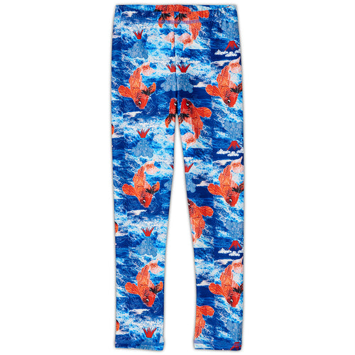Koi Fish Sunblocker Leggings Upf50 White Blue Orange Boys Size 2 6 Sunpoplife