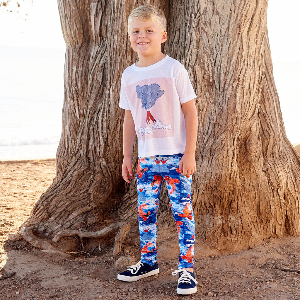 Koi Fish Sunblocker Leggings Upf50 White Blue Orange Boys Size 2 6 Surfer Boy At The Beach Sunpoplife