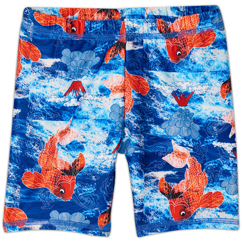 Koi Fish Sunblocker Shorts Upf50 Kids Boys Size 2 12 White Blue Orange Sunpoplife