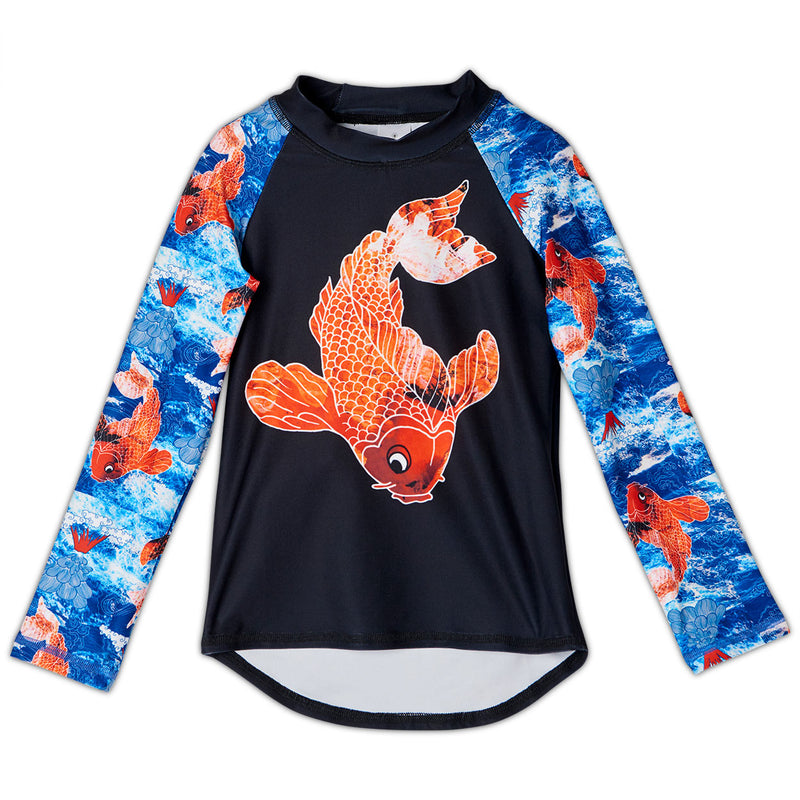 Koi Fish Zip Up Hoodie Upf50 Kids Boys 2 12 White Blue Orange Sunpoplife