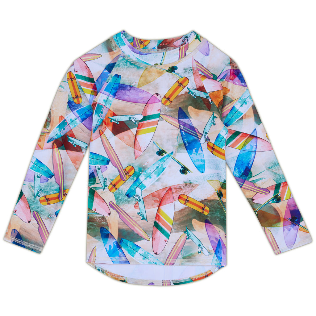 Surf & Skates Long-Sleeve Rashguard Top UPF 50+ Sun Pop Life®
