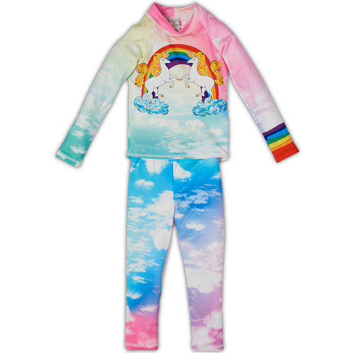 Lucky Unicorns 2Pc Rash Guard Set Girls Sunpoplife