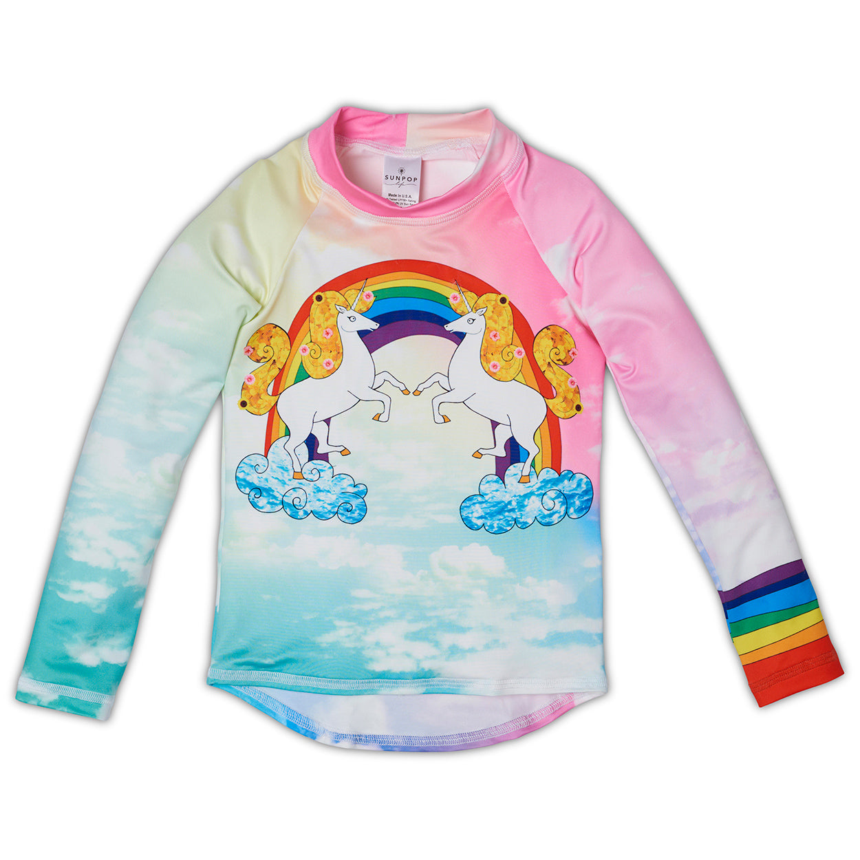 Lucky Unicorns Rash Guard Top Girls Sunpoplife