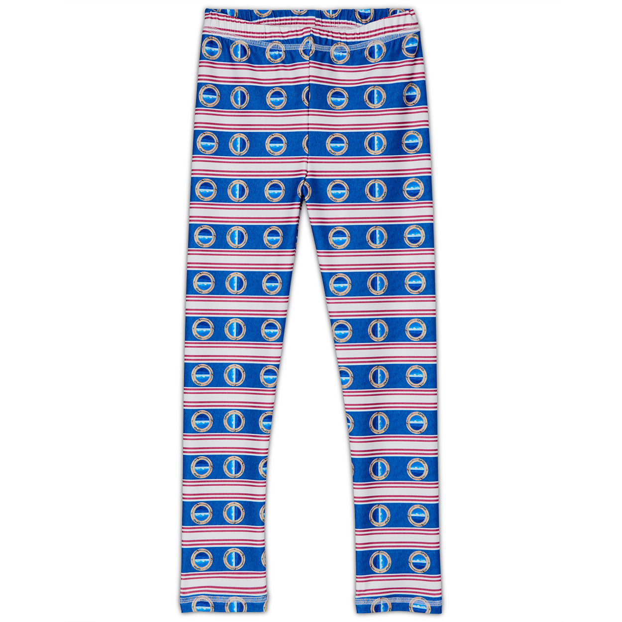 Mariner Hybrid Leggings Upf50 Kids Boys Girls Size 2 6 Red White Blue Stripes Denim Unisex Modern Mariner Sunpoplife