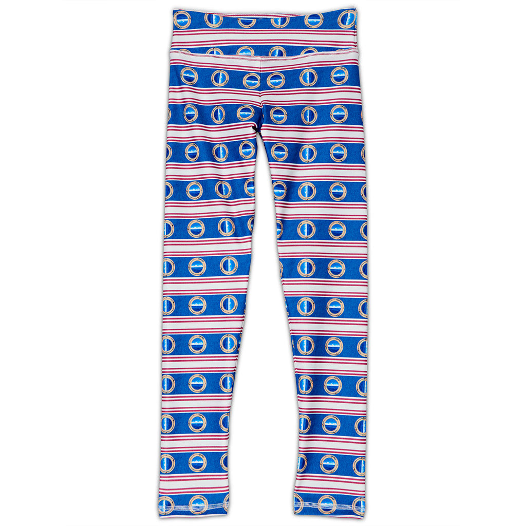 Mariner Hybrid Youth Legging Upf50 Girls 6 12 Red White Blue Stripes Denim Sunpoplife