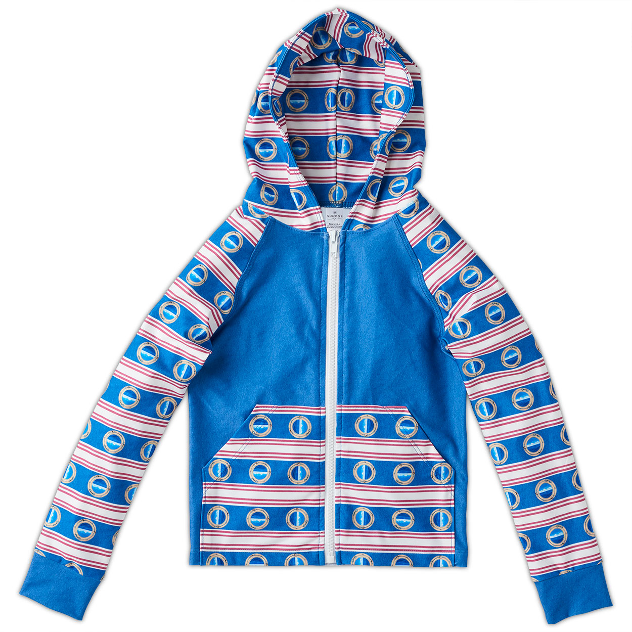 Modern Mariner Hybrid Zip Up Hoodie Upf50 Kids Boys Girls 2 12 Red White Blue Stripes Denim Portholes Unisex Sunpoplife
