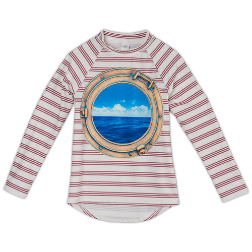 Modern Striped Long Sleeve Rash Guard Top UPF 50+ Kids 2-12 | Sun Pop Life