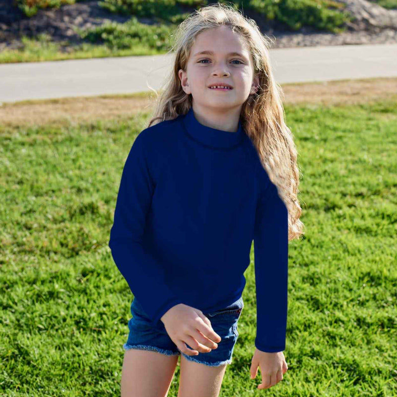 Navy Kids Long Sleeve Rash Guard Top UPF 50+