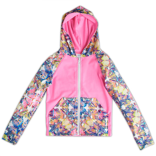 Opaline World Hybrid Zip Up Hoodie Upf50 Kids Girls Size 2 12 Butterflies Pink Multicolor Sunpoplife
