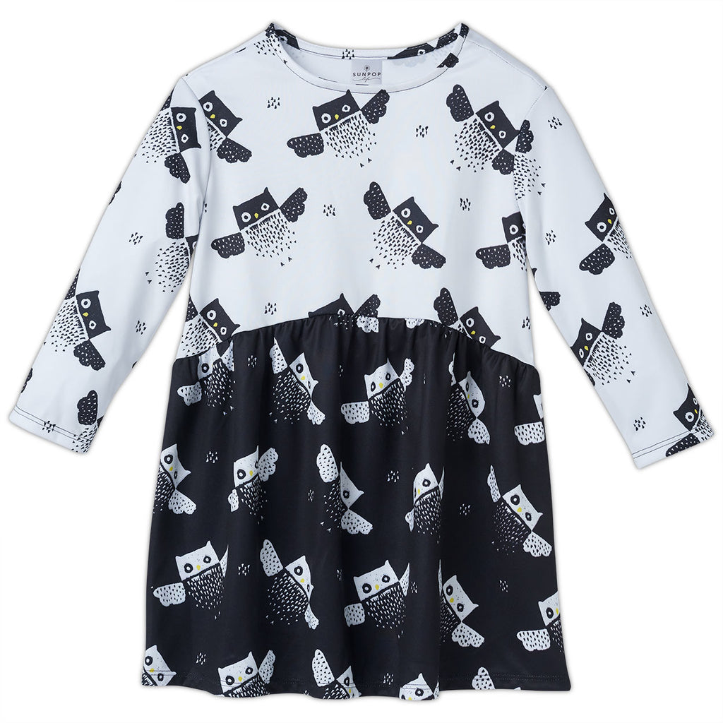 Owls Dress Girls 2 12 Black White Moisture Wicking Sunpoplife