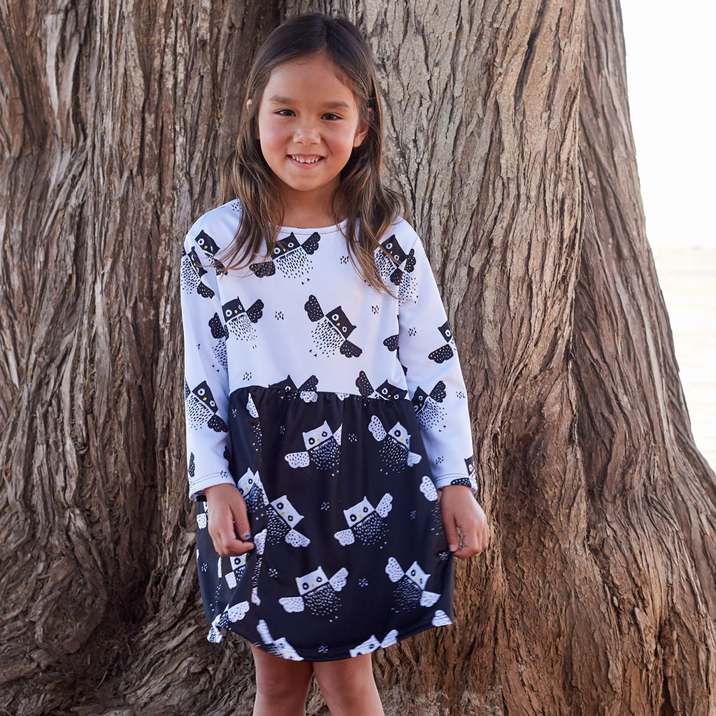 Owls Dress Girls Size 2 12 Black White Moisture Wicking Smiling Girl On The Beach Standing In Front Of A Tree Sunpoplife