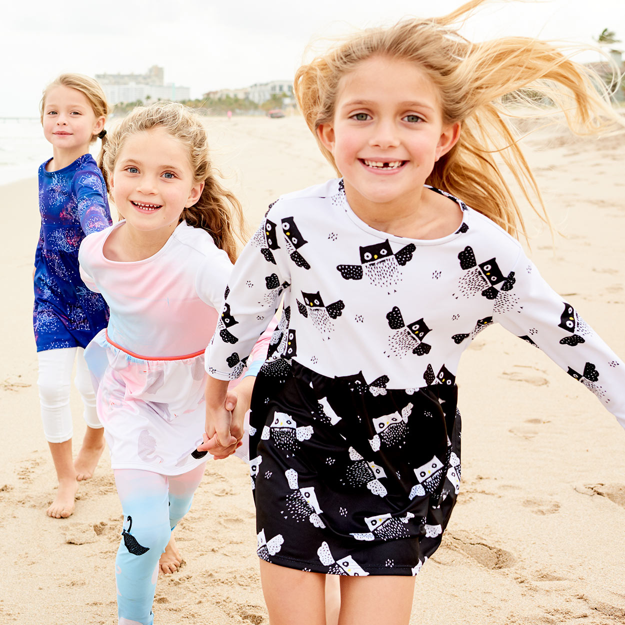 Owls Dress Girls Size 2 12 Black White Moisture Wicking Three Girls Running On The Beach Smiling Sunpoplife