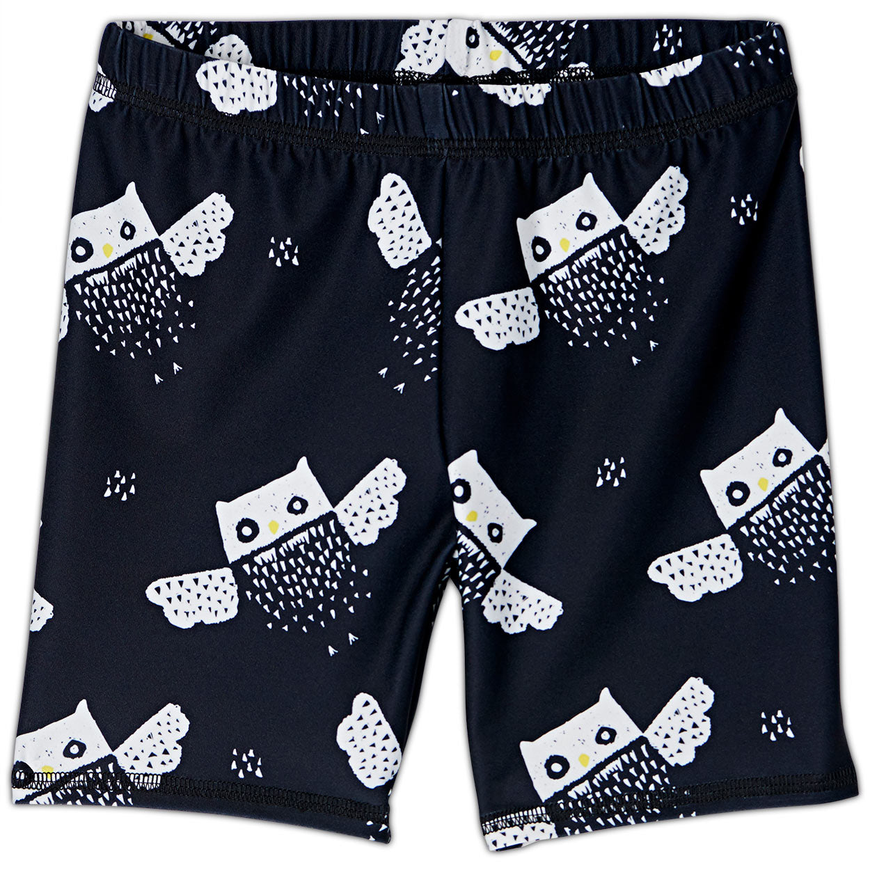 Owls Sunblocker Shorts Upf50 Kids Boys Girls Size 2 12 Black White Unisex Sunpoplife