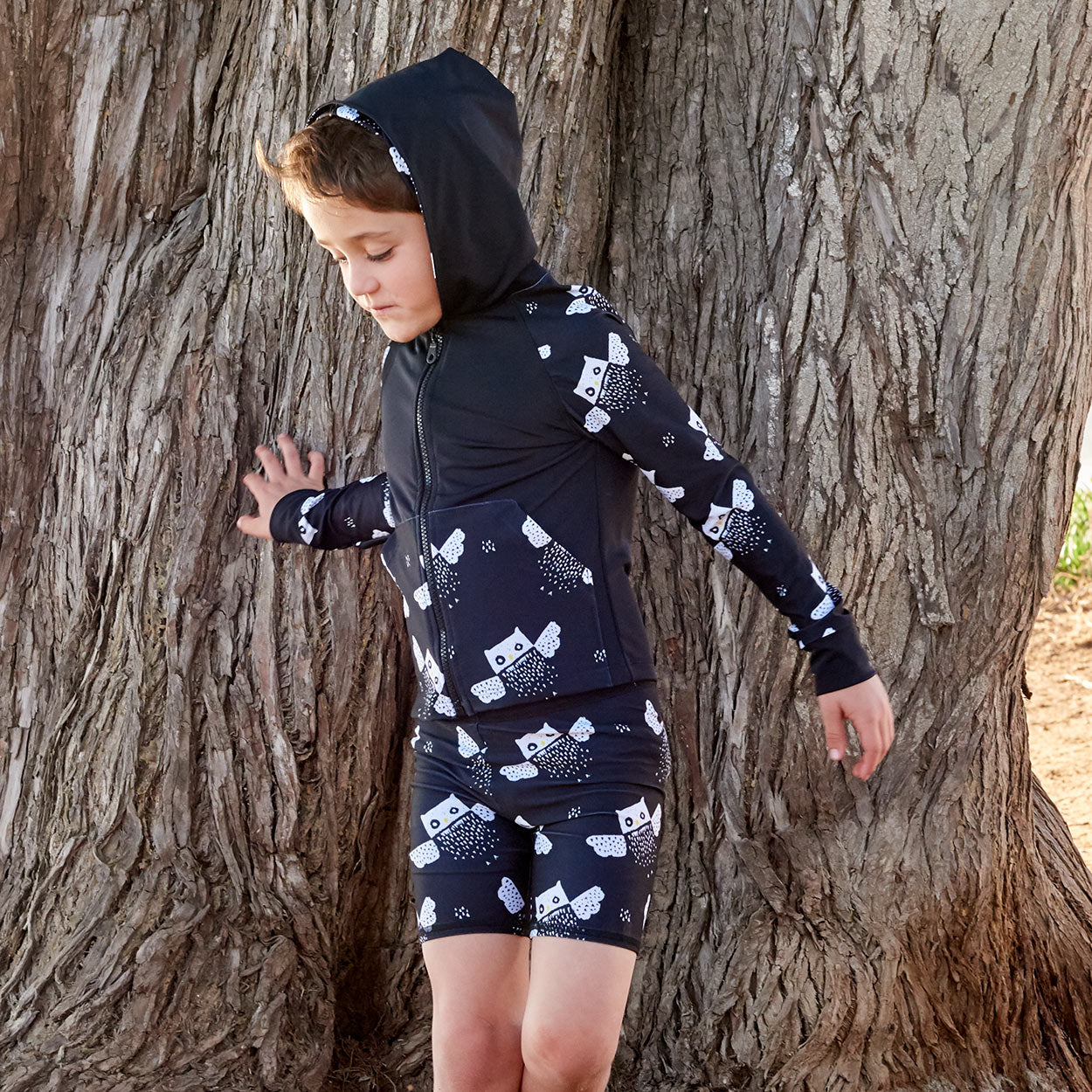 Owls Zip Up Hoodie Upf50 Kids Boys Girls Size 2 12 Black White Unisex Boy Wearing A Hoodie In Front Of A Tree Sunpoplife