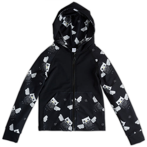 Owls Zip Up Hoodie Upf50 Kids Boys Girls Size 2 12 Black White Unisex Sunpoplife