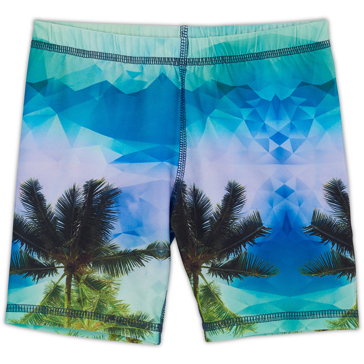 Palm Trees Hybrid Shorts Upf50 Kids Boys Size 2 12 Green Blue Geo Tropical Sunpoplife