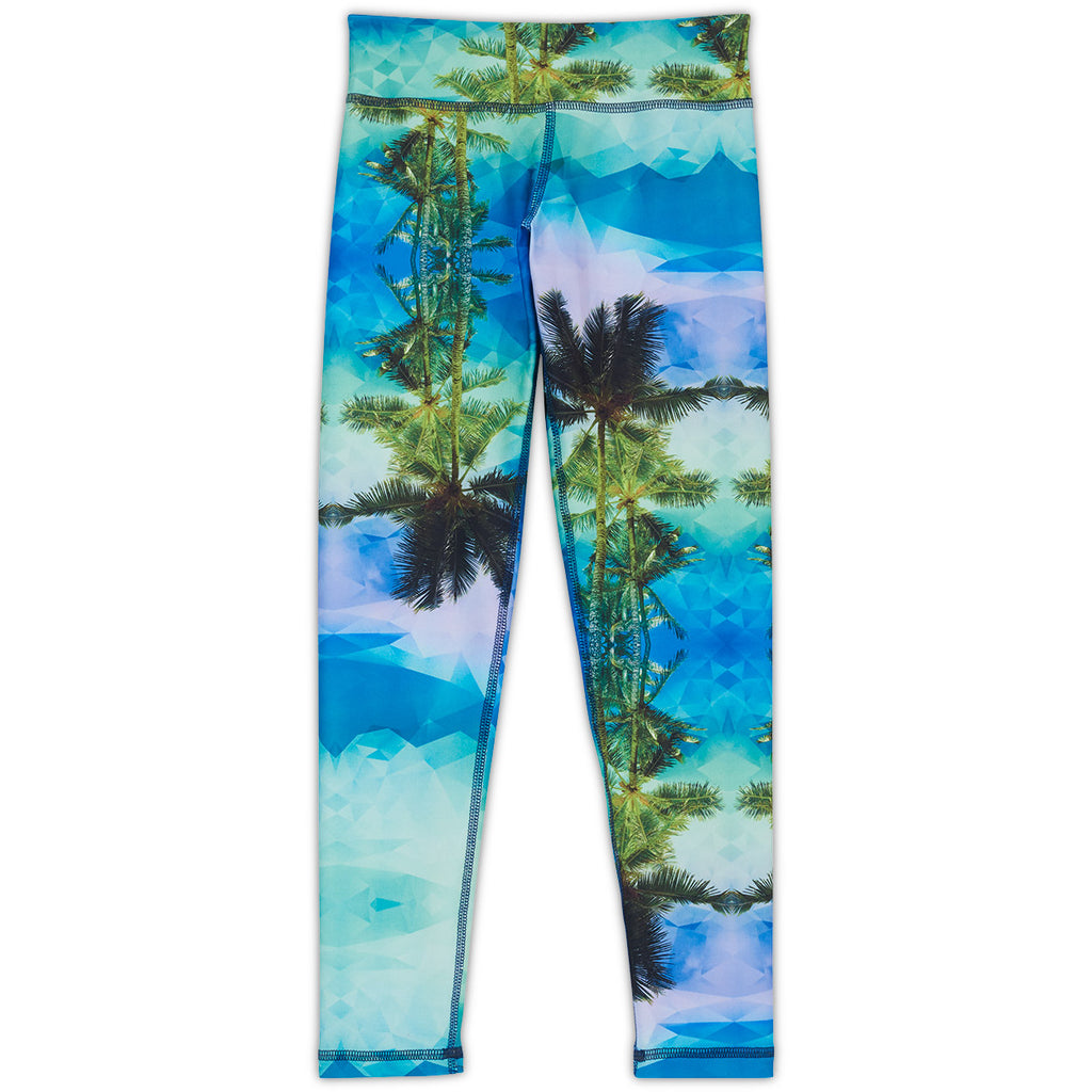 Palm Trees Hybrid Youth Leggings Upf50 Girls 6 12 Green Blue Geo Tropical Sunpoplife