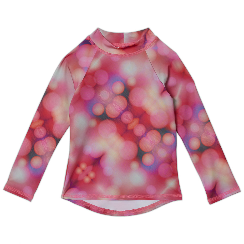 Pink Abstract Long Sleeve Rash Guard Top UPF 50+ for Girls