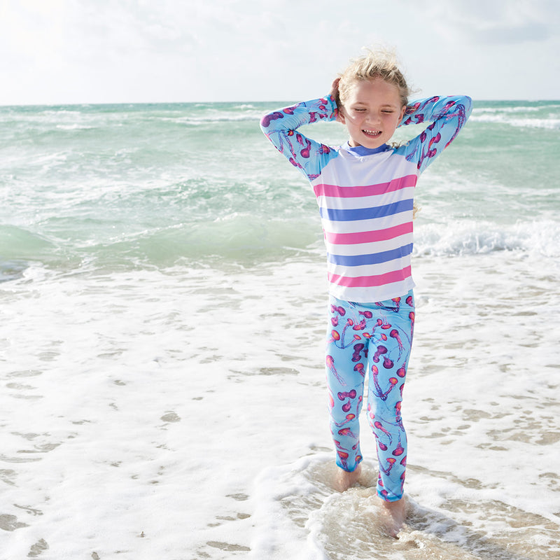 Pink Jellyfish 2Pc Rash Guard Set Girl Enjoying A Sunny Day Beach Sunpoplife