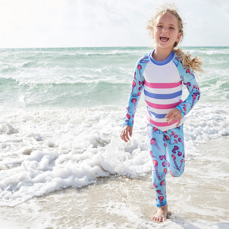 Pink Jellyfish 2Pc Rash Guard Set Girl Running Over An Ocean Wave Beach Sunpoplife
