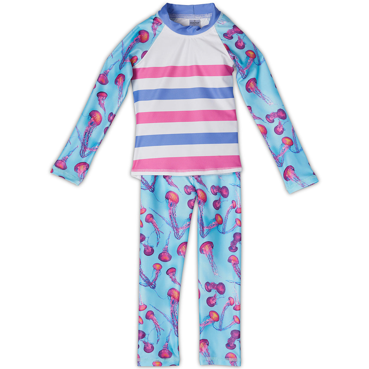 Pink Jellyfish 2Pc Rash Guard Set Girls Sunpoplife