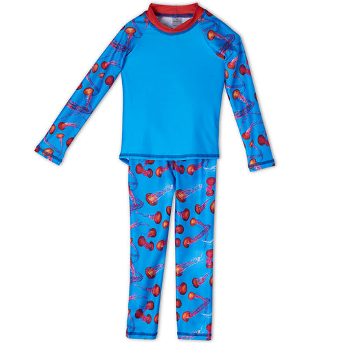 Red Jellyfish 2 Pc Rash Guard Set Boys Sunpoplife