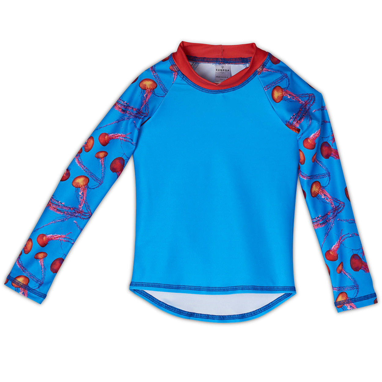 Red Jellyfish Rash Guard Top Kids Sunpoplife