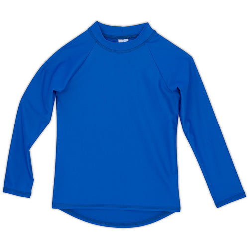 Royal Blue Kids Long Sleeve Rash Guard Top UPF 50+