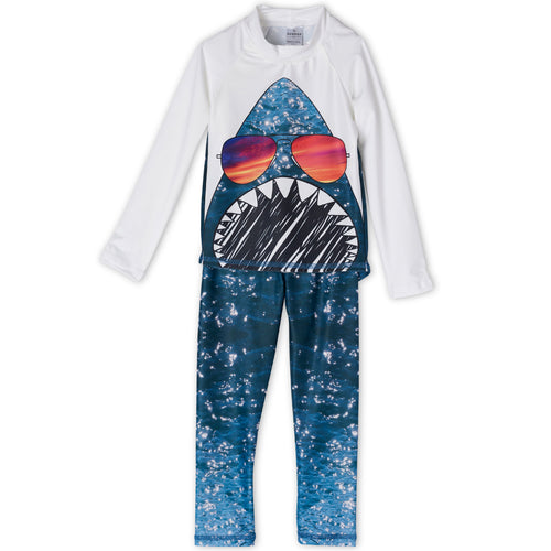 Shark 2 Pc Rash Guard Set Boys Sunpoplife