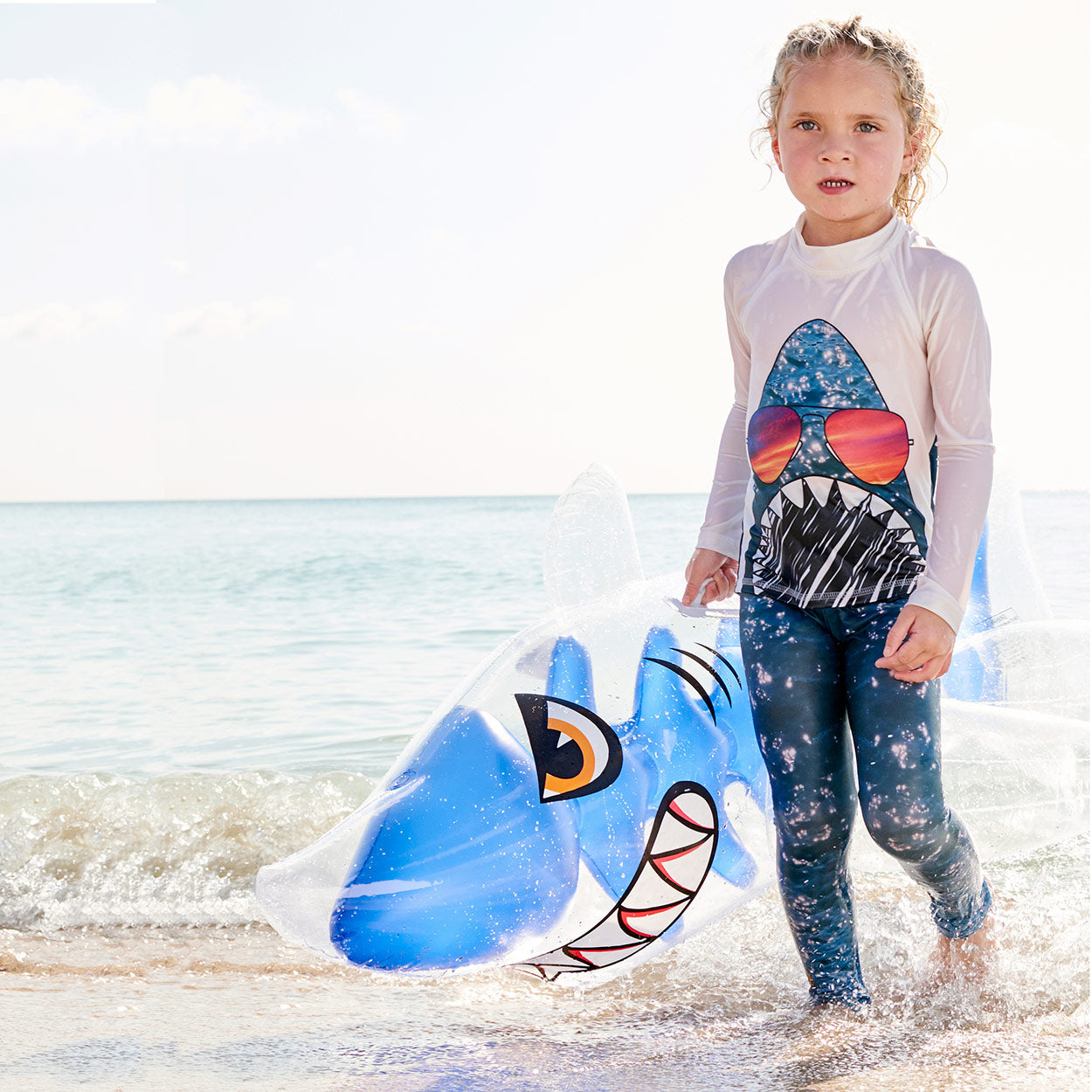 Shark 2Pc Rash Guard Set Girls With Inflatable Shark On The Beach Sunpoplife