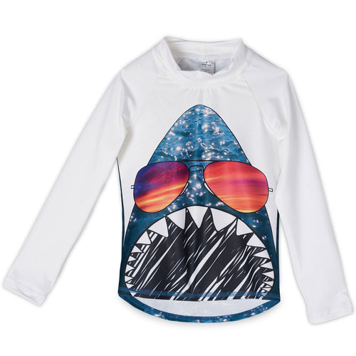 Shark Rash Guard Top Front Kids Sunpoplife