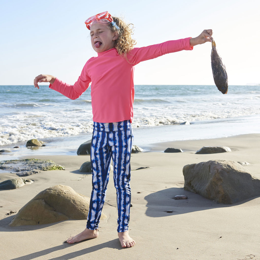 Shibori Hybrid Youth Leggings UPF 50+ for Girls