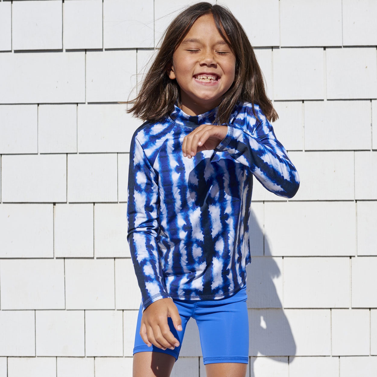 Shibori Long Sleeve Rash Guard Top UPF 50+ for Kids