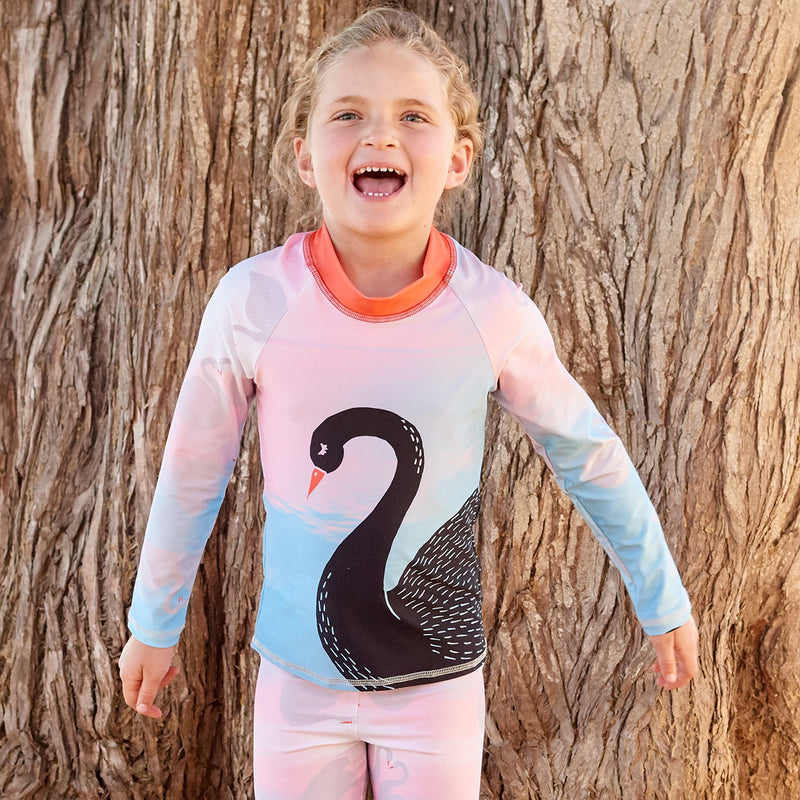 Swan Long Sleeve Rash Guard Top Upf50 White Aqua Peach Black Kids Girls Size 2 12 Girl Laughing In Front Of A Tree Sunpoplife
