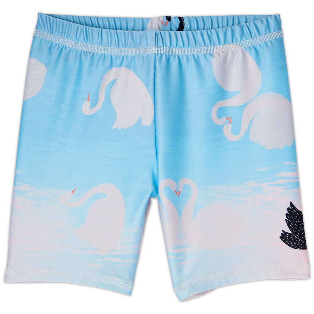 Swan Sunblocker Shorts Upf50 Kids Girls Size 2 12 White Aqua Peach Sunpoplife