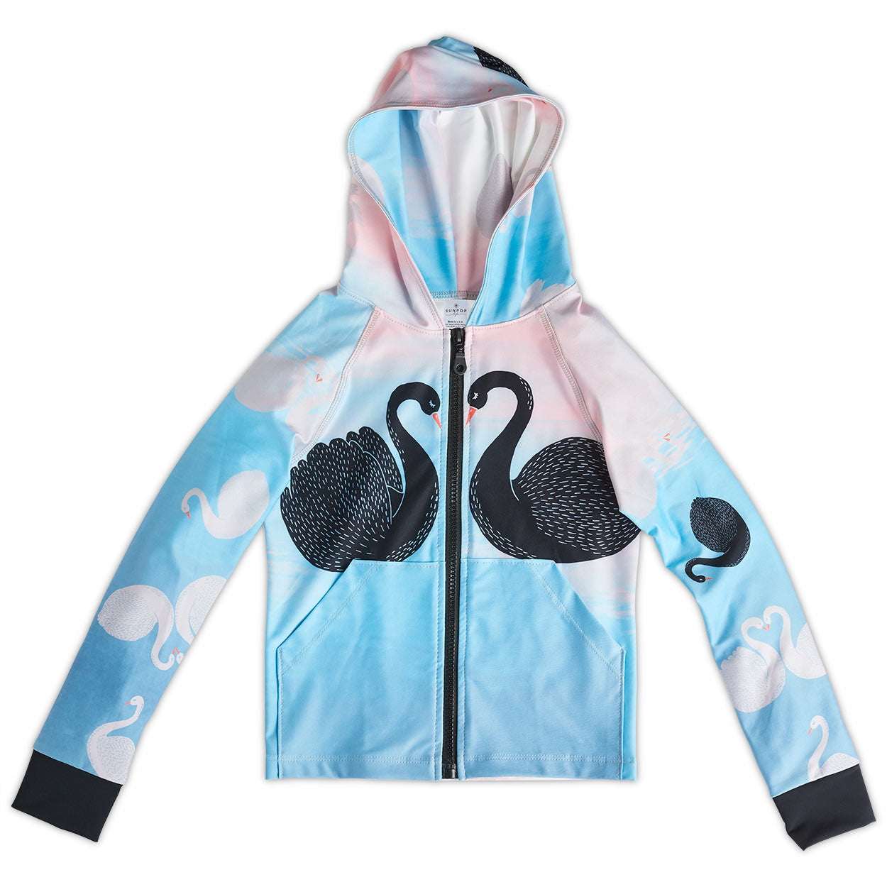 Swan Zip Up Hoodie Upf50 Girls 2 12 Peach Aqua Sunpoplife