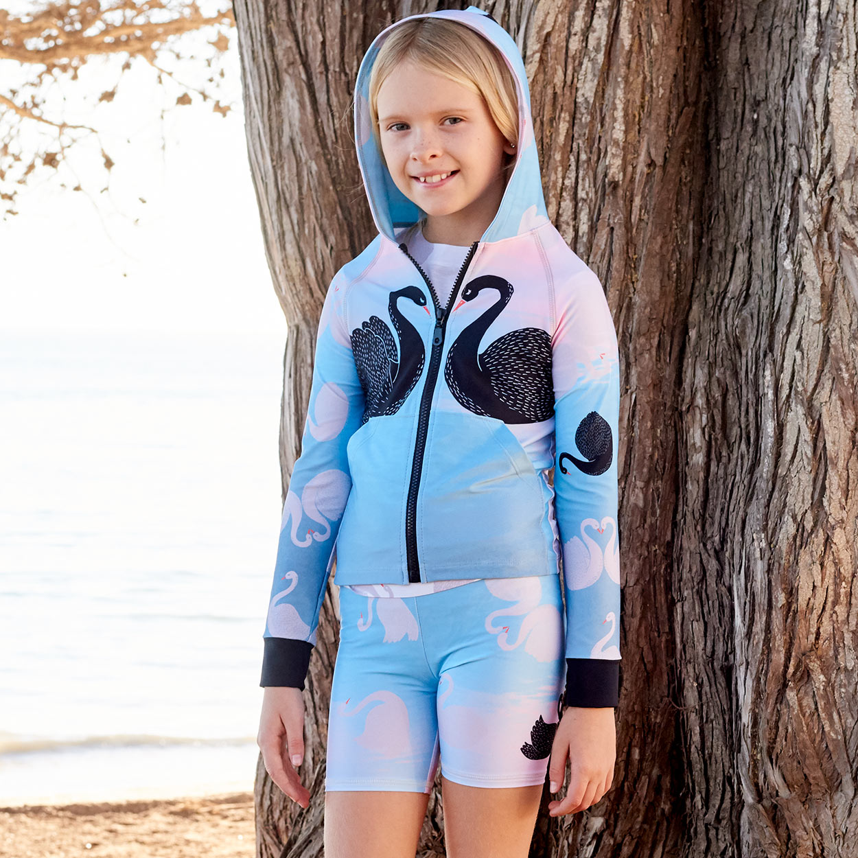 Swan Zip Up Hoodie Upf50 Kids Girls Size 2 12 Aqua Black White Peach Beach Girl Wearing A Hoodie At The Beach Sunpoplife