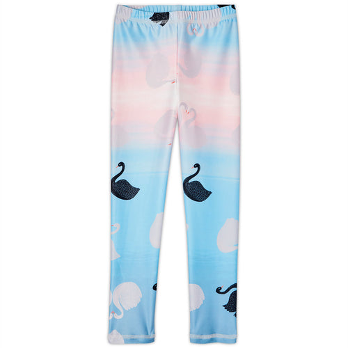 Swans Sunblocker Leggings Upf50 Girls Size 2 6 White Aqua Peach Sunpoplife