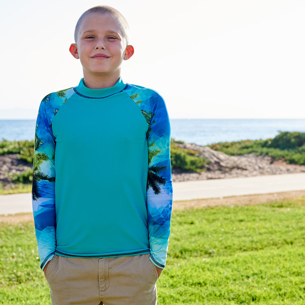 Tropical Long Sleeve Rash Guard Top Upf50 Kids Boys Girls Unisex Size 2 12 Green Blue Teal Palm Trees Geo Tropical Sunpoplife