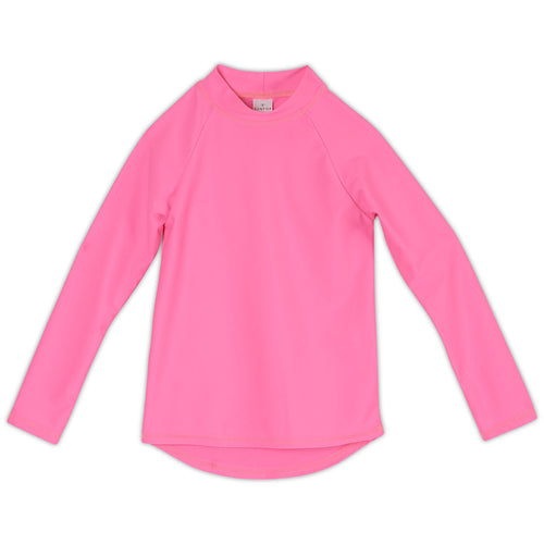 True Pink Girls Long Sleeve Rash Guard Top UPF 50+