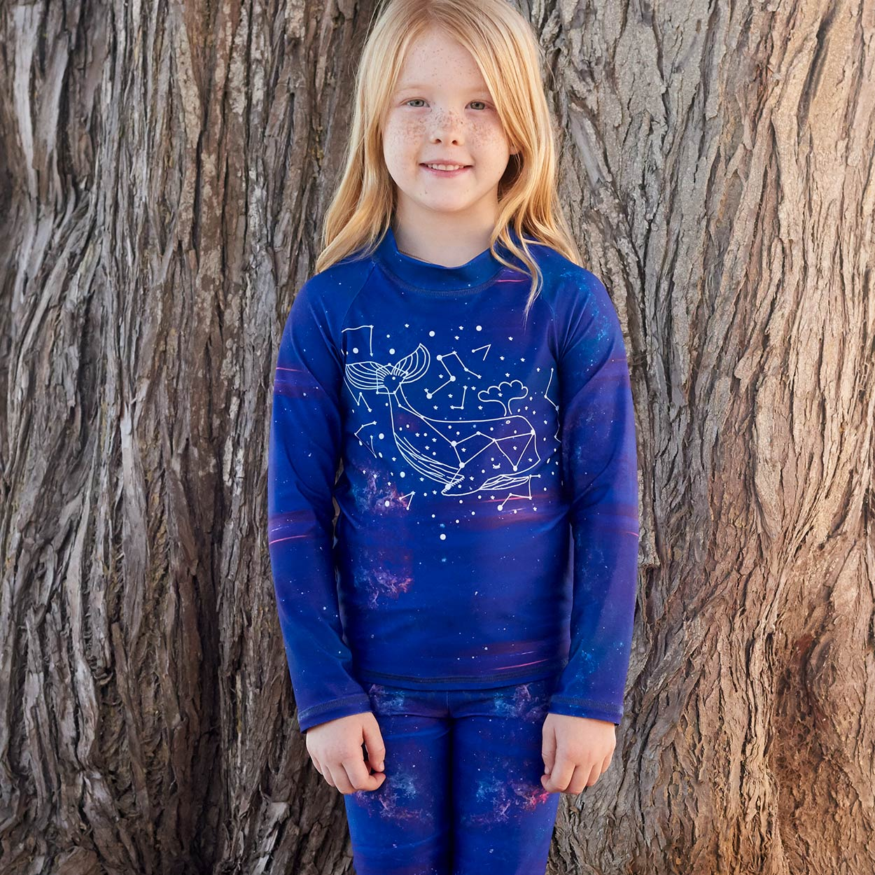 Whale Long Sleeve Rash Guard Top Upf50 Kids Boys Girls Size 2 12 Purple Unisex Cetus Constellations Cosmos Little Girl With Freckles Standing Against A Brown Tree Sunpoplife