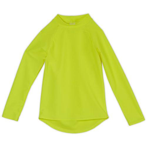 Yellow Kids Long Sleeve Rash Guard Top UPF 50+