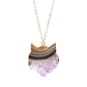 NECKLACE The Amethyst Slice Cat in Gold - One of a Kind!