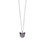 The Petite Cat Necklace in Rainbow Druzy