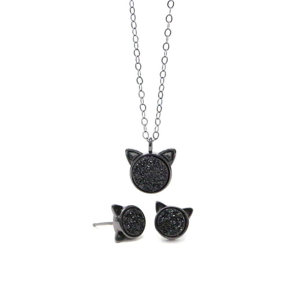 The Black Druzy Cat Gift Set