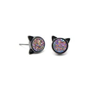 The Druzy Cat Stud Earrings in Rainbow Druzy